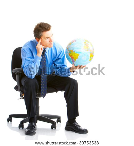 businessman  with globe. Isolated over white background