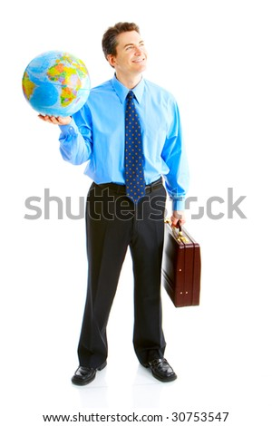 businessman  with globe. Isolated over white background - stock photo