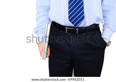 Businessman with glossy laptop - stock photo