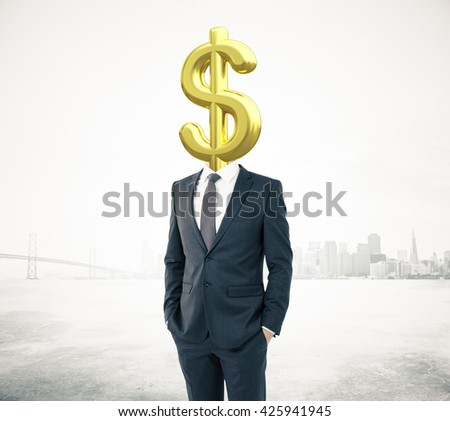 Businessman with golden dollar sign head on abstract city background - stock photo