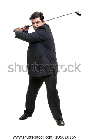 Businessman with golf club and ball isolated