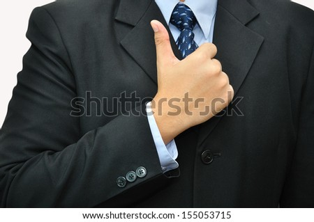 Businessman with good performance action - stock photo