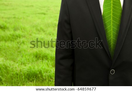 Businessman with green leaf tie on the grass field - stock photo
