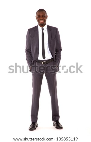 businessman with hands in pocket - stock photo