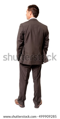 Businessman with Hands in Pockets on White