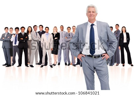 Businessman with hands on hips against a white background - stock photo