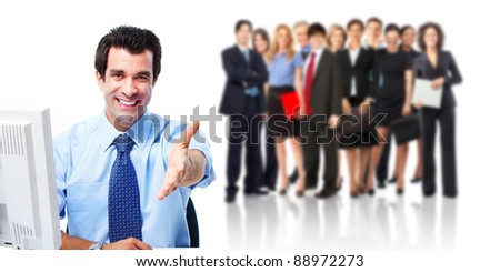 Businessman with handshake and group of business people. Business team. Isolated over white background. - stock photo