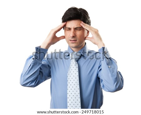 businessman with headache isolated on a white background - stock photo