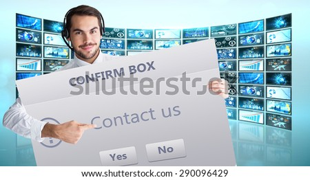 Businessman with headphone showing sign to camera against confirm box - stock photo