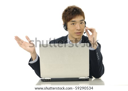 Businessman with headphones and laptop on help center