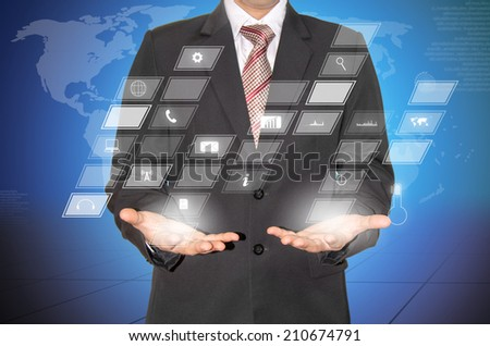 businessman with  high technology screen for work