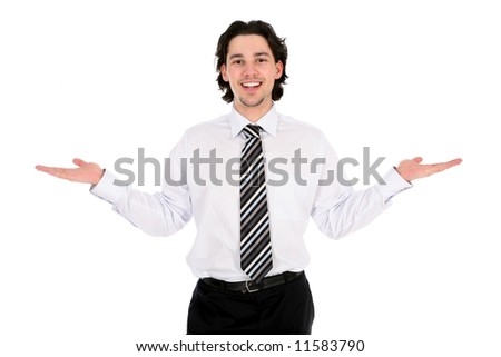 Businessman with his arms outstretched - stock photo