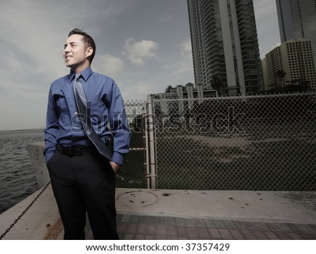 Businessman with his hands in his pocket