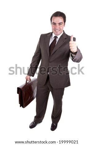 Businessman with his thumb up and with brown classic case. Isolated on white - stock photo