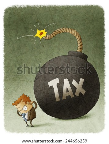 Businessman with Huge Tax Bomb behind - stock photo