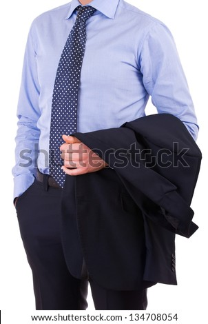Businessman with jacket over arm.