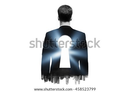 Businessman with keyhole in his back on dark city background. Double exposure - stock photo