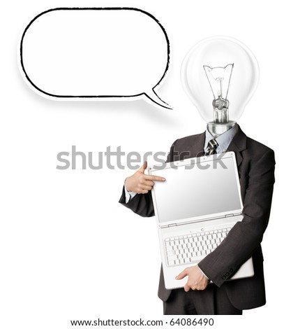 businessman with lamp-head and laptop and comics bubble shows something with his finger - stock photo