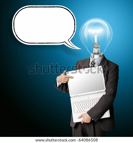 businessman with lamp-head and laptop and comics bubble shows something with his finger