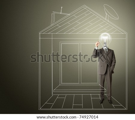 businessman with lamp-head and marker drawing house on glass write board - stock photo