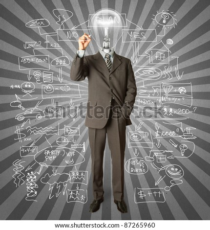 businessman with lamp-head and marker writing something on glass write board