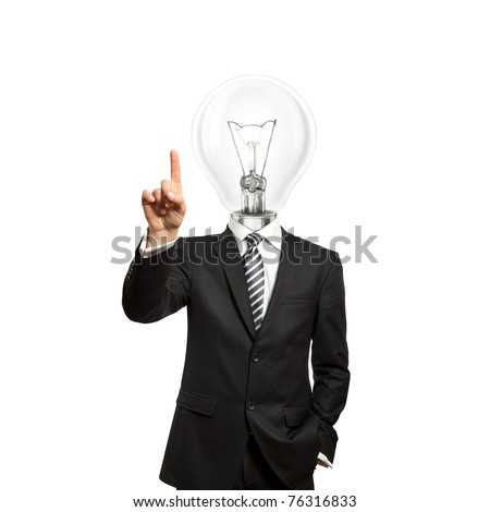 businessman with lamp-head push the button on virtual touch pad
