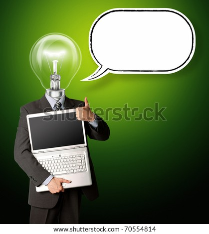 businessman with lamp-head with open laptop and bubble