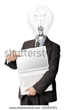 businessman with lamp-head with open laptop shows something with his finger