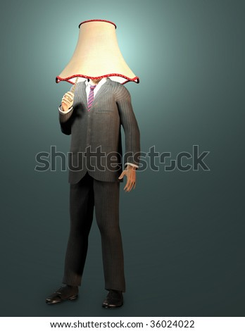 Businessman with lamp shade and pull switch - stock photo