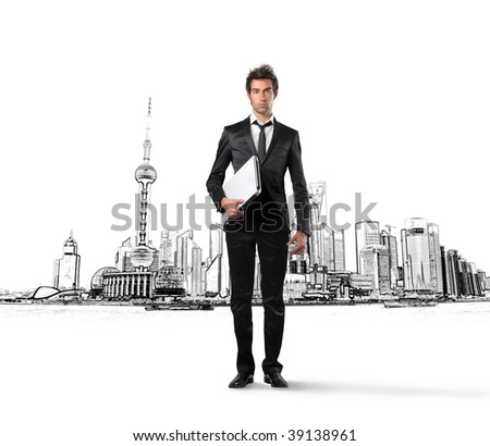 businessman with laptop and a city illustration on the background - stock photo