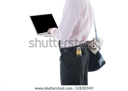 Businessman with laptop and Concept: multi-tasking, modern man - stock photo