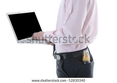 Businessman with laptop and milk bottle in the pocket. Concept: multi-tasking, modern man - stock photo