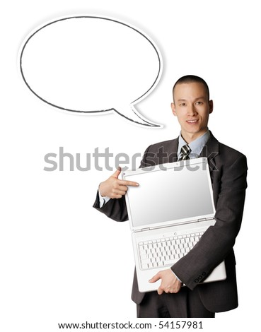 businessman with laptop and thought bubble shows something with his finger - stock photo