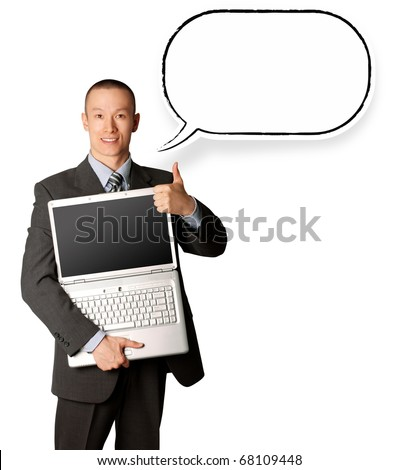 businessman with laptop and thought bubble shows welldone - stock photo