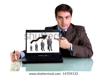 businessman with laptop computer isolated on white background - stock photo