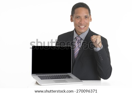Businessman with laptop computer isolated on white background.