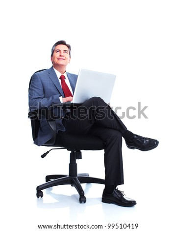 Businessman with laptop computer. Isolated on white background.