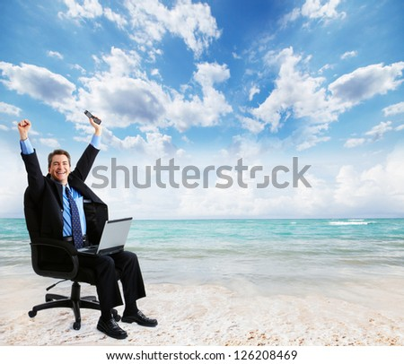 Businessman with laptop computer. Over abstract background. - stock photo