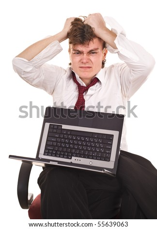 Businessman with laptop in crisis. Isolated.
