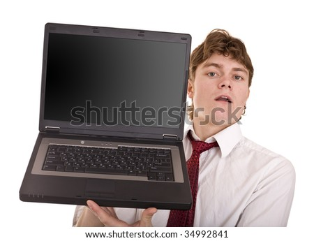 Businessman with laptop in office. Isolated.