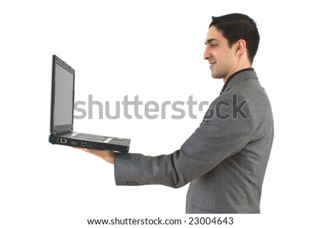 Businessman with laptop on white background
