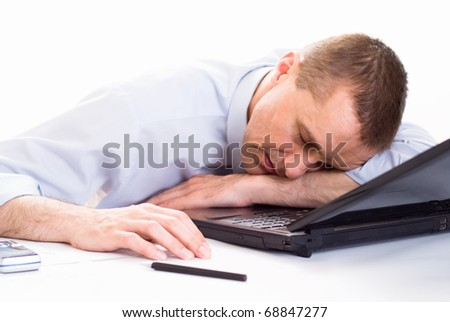 businessman with laptop on white background - stock photo