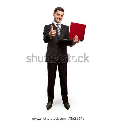 businessman with laptop shows well done, full length - stock photo