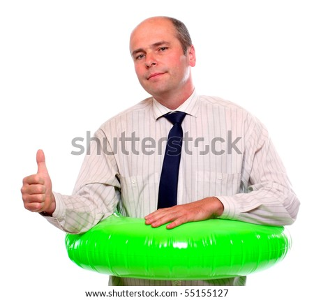 Businessman with life ring.Travel insurance metaphor. - stock photo