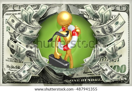Businessman With Lifebuoy And Money 3D Illustration