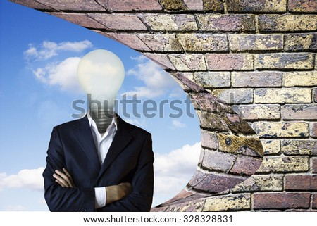 Businessman with light bulb instead of head. - stock photo