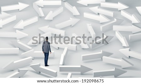 Businessman with lots of choices - stock photo