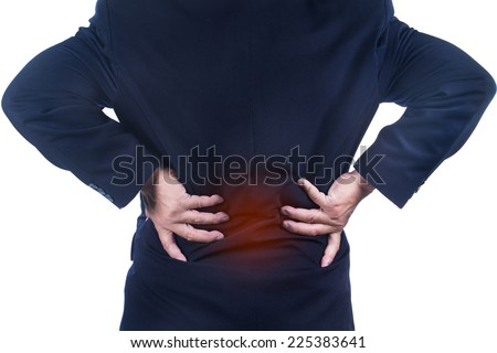 businessman with low back pain on white background