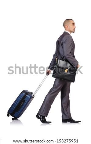 Businessman with luggage on white - stock photo