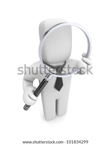 Businessman with magnifying glass. Image contain the clipping path - stock photo